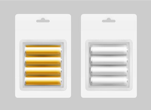 Vector Set of Four White Silver Gray Golden Yellow Glossy Alkaline AA Batteries in White Blister Packed for branding Close up Isolated on Background