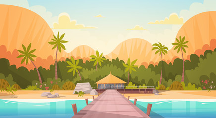 Wall Murals Beige Tropical Beach With Water Bungalow House Landscape, Summer Travel Vacation Concept Flat Vector Illustration