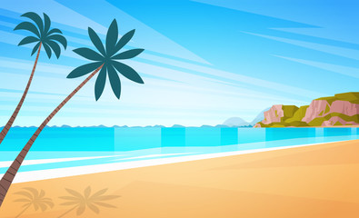 Sea Shore Sand Beach Summer Vacation Blue Sky Sun Flat Vector Lllustration