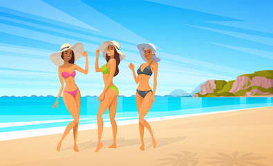 Three Woman In Bikini On Beach, Sexy Girls Wear Hat On Summer Sea Vacation Flat Vector Illustration