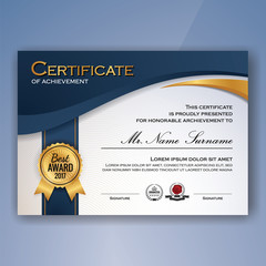 Blue and white elegant certificate of achievement template background. vector illustration