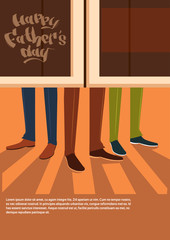 Happy Father Day Family Holiday, Male Legs Enter Pub Celebration Concept Greeting Card Flat Vector Illustration