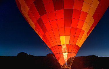 Morning start of Hot air balloon in Cappadocia. Turkey