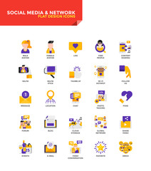 Modern material Flat design icons - Social Media and Network