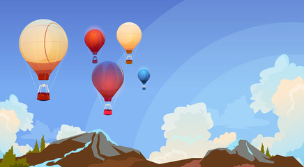 Colorful Air Balloons Flying In Sky Over Summer Landscape Flat Vector Illustration