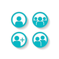 User Profile Group Set Icon Symbol. Vector