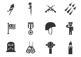 veterans day icon set