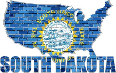 South Dakota on a brick wall - Illustration, Font with the South Carolina flag,  South Carolina map on a brick wall