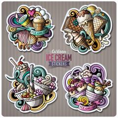Set of Ice Cream cartoon stickers