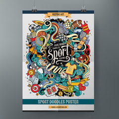 Cartoon hand drawn doodles Sport poster template
