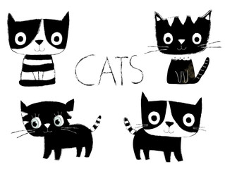 Set of cute black and white vector cats in flat style with hand painted look