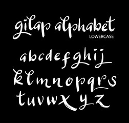 Gilap vector alphabet lowercase characters. Good use for logotype, cover title, poster title, letterhead, body text, or any design you want. Easy to use, edit or change color.