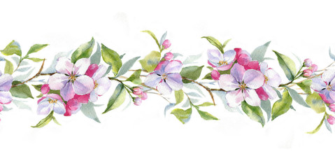 Hand drawn watercolor borders with the apple branch. Watercolor apple blooming branch. Floral frame template