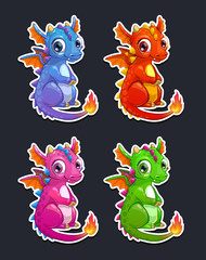 Cute cartoon little dragon