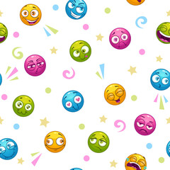 Seamless pattern with cute cartoon colorful round faces
