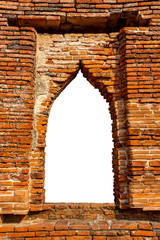 Ruined Window Frame of Wat Phra Si Sanphet temple in Ayutthaya Historical Park, Thailand