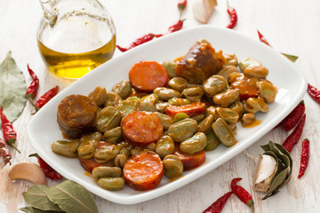 beans with smoked sausages on white dish