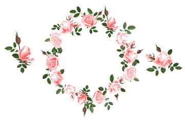 Vector round frame of roses