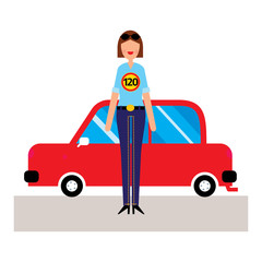 Woman driver wearing shirt with 120 road sign on it and standing in front of the red car. Vector illustration
