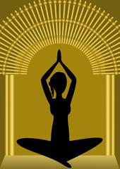 Yoga training, woman silhouette in golden gate, spiritual symbol, asana