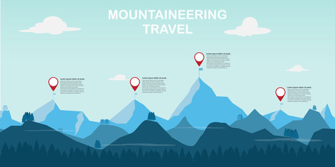 time to mountaineering adventure and travel. vector illustration. Wall mural