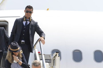 Real Madrid arrive at Malpensa airport
