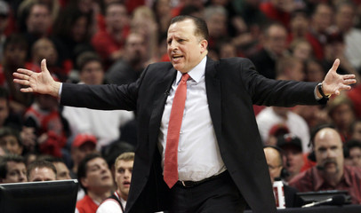 Bulls' coach Thibodeau gestures while his team plays the Heat during Game 1 of their NBA Eastern Conference Finals playoff basketball game in Chicago