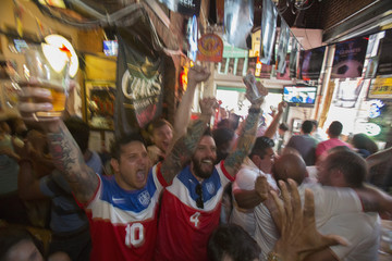 Viewing party for 2014 World Cup match between Ghana and U.S., at Lucky Baldwins pub in Pasadena