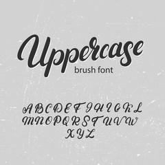 Uppercase brush alphabet. Hand written uppercase font.