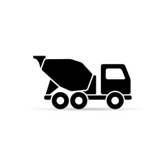 Concrete mixer icon, vector isolated mixer truck symbol.