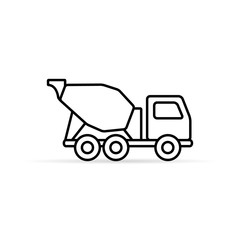 Concrete mixer line icon, vector isolated mixer truck symbol.