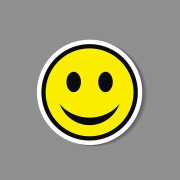 Smiley paper sticker. Vector happy face emoticon label.