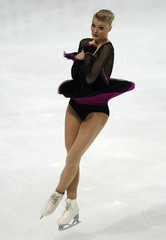 Helgesson of Sweden performs during the ladies free skating event at the ISU World Figure Skating Championships in Moscow