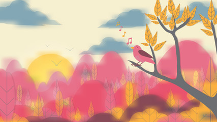 Paper-cut Style Bird on Tree Branch with Blurred Landscape Background - Vector Illustration.