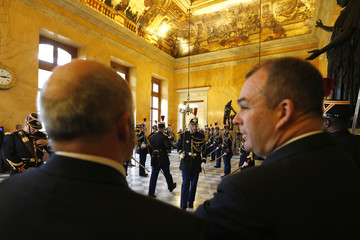French Republican Guard stands in the Salle des Pas Perdus hall at the National Assembly in Paris