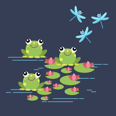 Tree frogs with lily and dragonflies. Illustration for children. Flat design style.