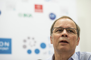 French economist Jean Tirole speaks during a news conference at the Toulouse School of Economics in Toulouse