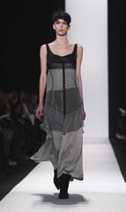 A model presents a creation from the Narciso Rodriguez Fall/Winter 2011 collection during New York Fashion Week