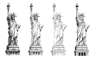 Statue of liberty, vector collection of illustrations. Wall mural