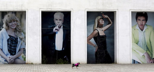Russian Toy Terrier walks in front of wall with portraits of Russia singers at Siberian Venice Park outside Sosnovoborsk