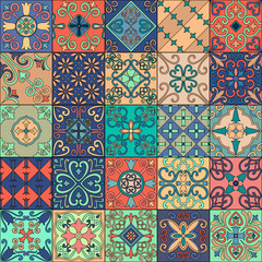 Garden Poster Moroccan Tiles Seamless pattern with portuguese tiles in talavera style. Azulejo, moroccan, mexican ornaments.