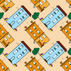 Vector seamless pattern in flat style - abstract buildings concept. Urban landscape for textile and backgrounds