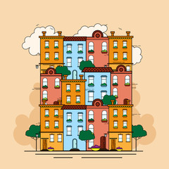 Vector illustration in flat style - abstract city concept. Urban landscape for banners and websites headers