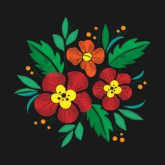 Vintage flower composition embroidery. Elements of clothing design.