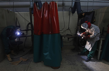 Pupils practice welding in a classroom at vocational training center Instituto do Emprego e Formacao Profissional in Setubal