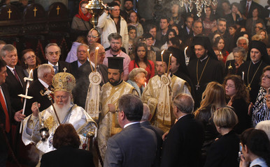Ecumenical Greek Orthodox Patriarch Bartholomew I leads the Easter service at the patriarchal Cathedral of St. George in Istanbul