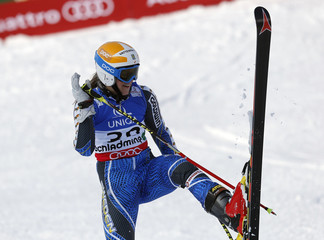 Sara Hector of Sweden reacts during the first run of the women's Giant Slalom race at the World Alpine Skiing Championships in Schladming
