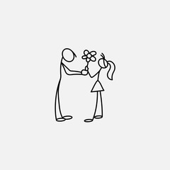 Cartoon icon of sketch little family people in cute miniature scenes.