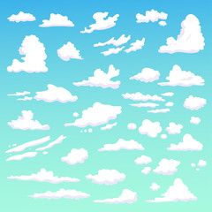 Set with clouds. Isolated art on blue background