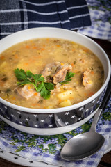 Soup with barley and chicken gizzards.